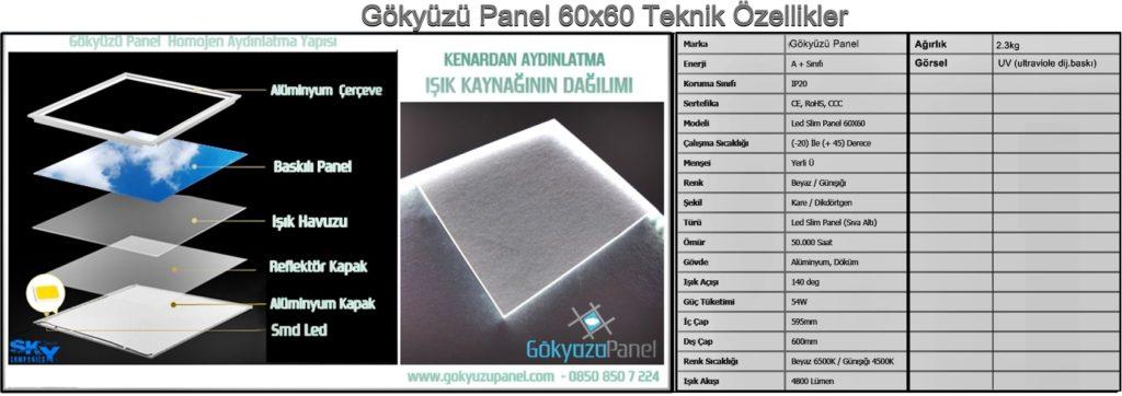 60x60 Gökyüzü Panel Teknik Özellikler