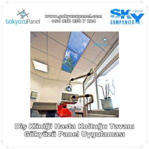 Diş Kliniği Hasta Koltuğu Tavanı Gökyüzü Panel Uygulaması