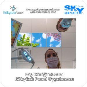 Diş Kliniği Tavanı Gökyüzü Panel Uygulaması