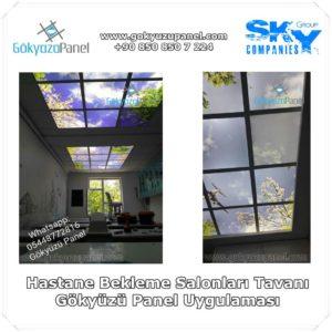 Hastane Bekleme Salonları Tavanı Gökyüzü Panel Uygulaması