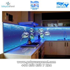 Mutfak Tezgah Arası Cam - Gökyüzü Panel