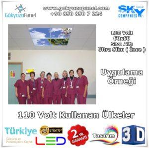 110 Volt 60x60 Gökyüzü Panel Sıva Altı Slim Uygulama Örneği