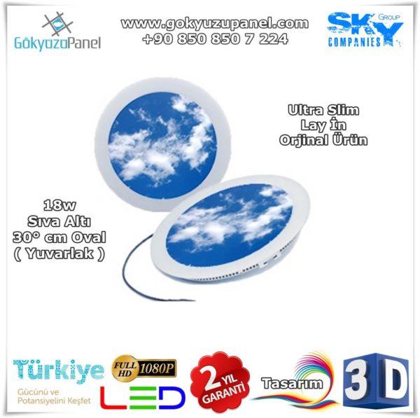 30° cm Oval ( Yuvarlak ) Gökyüzü Panel Sıva Altı Slim